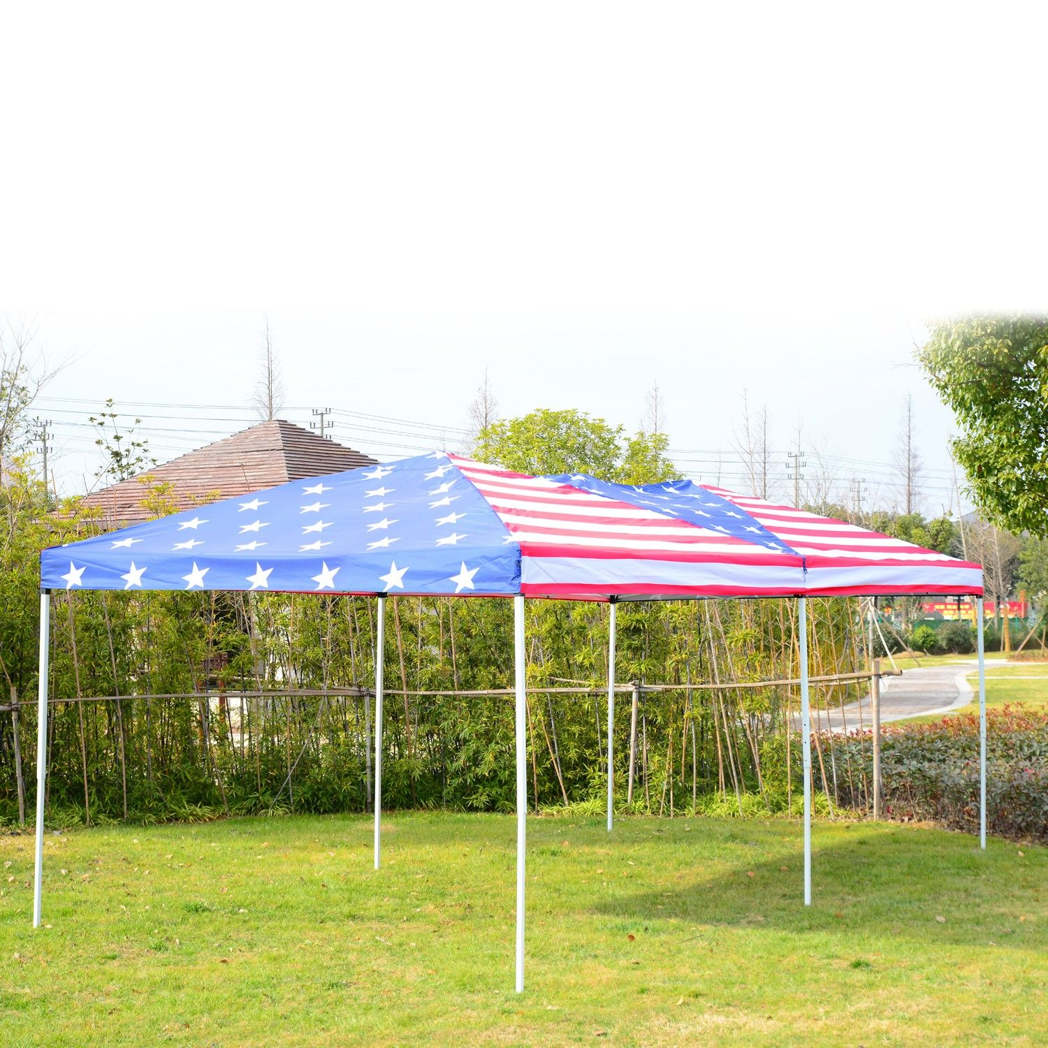 Outsunny 10 X 20 Pop Up Canopy Shelter Party Tent With Mesh Walls American Flag Tents Canopies Gazebos Party Tent Canopy Shelter Pop Up Canopy Tent