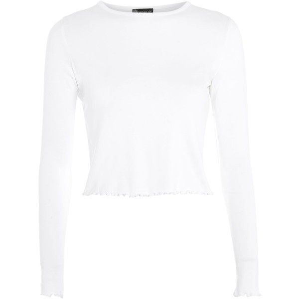 4d7659fd3e8e48 TopShop Long Sleeve Lettuce Crop Top (269.920 IDR) ❤ liked on Polyvore  featuring tops, white, white crop top, long sleeve tops, long-sleeve crop  tops, ...