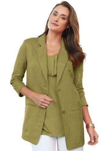 085192fbc6a8c Jessica London Womens Plus Size Single-Breasted Linen Blazer Meadow Sage