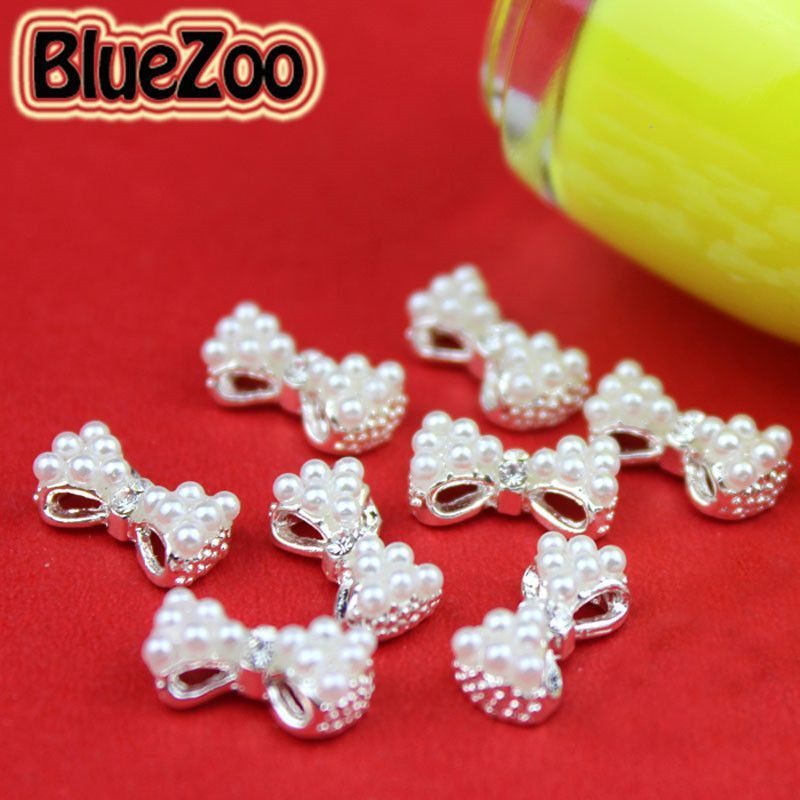 BlueZoo 10pcs/pack 3D White Alloy Faux Pearl Rhinestone Bow Tie Decoration AB Clear Red Rhinestone Nail Art Decoration 13mm*6mm