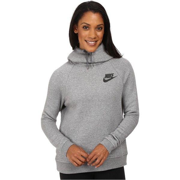 Nike Rally Pullover Hoodie (Carbon Heather/Dark Grey/Black) Women's.