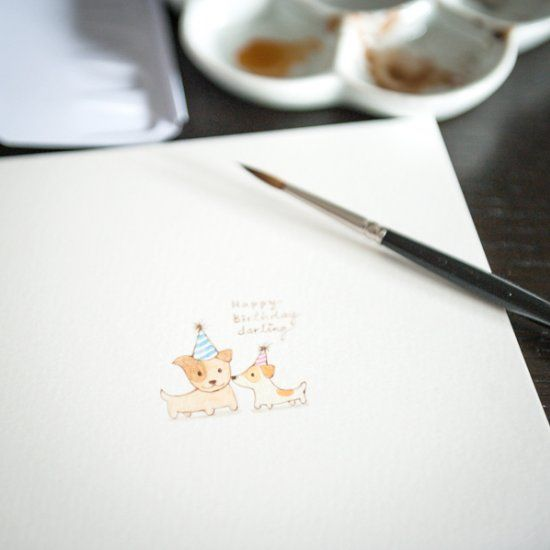 Pick up your brush and paint this simple watercolor birthday card pick up your brush and paint this simple watercolor birthday card with cute dogs for someone bookmarktalkfo Gallery