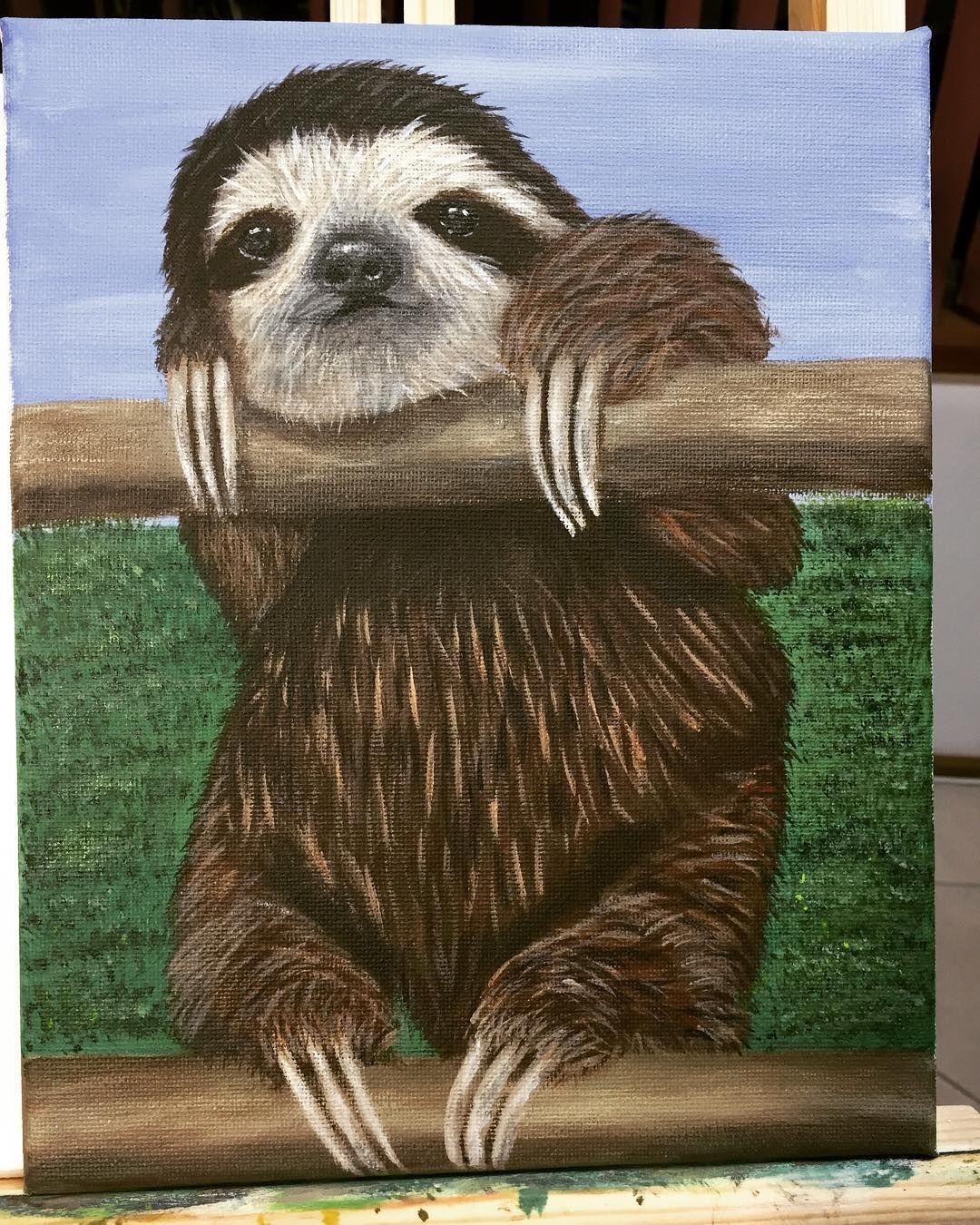 Art Acrylic Painting Canvas Sloth Artist Artwork Animals Pet Portrait Paintings Sloth Art Canvas Painting
