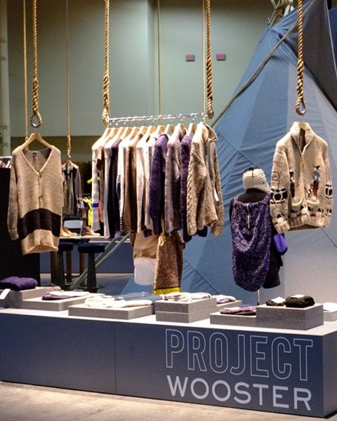 Neat hanger display for a clothing pop-up shop.