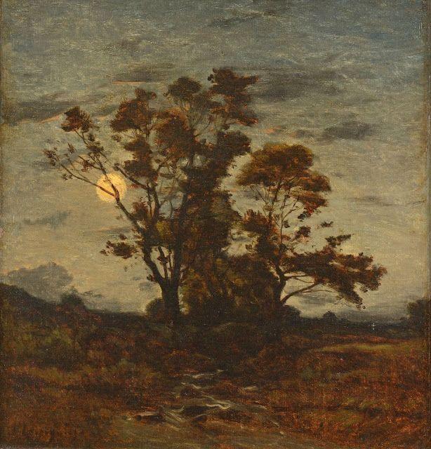 Henri Joseph Harpignies (1819-1916), Les Grands Arbres, Effet de Lune.