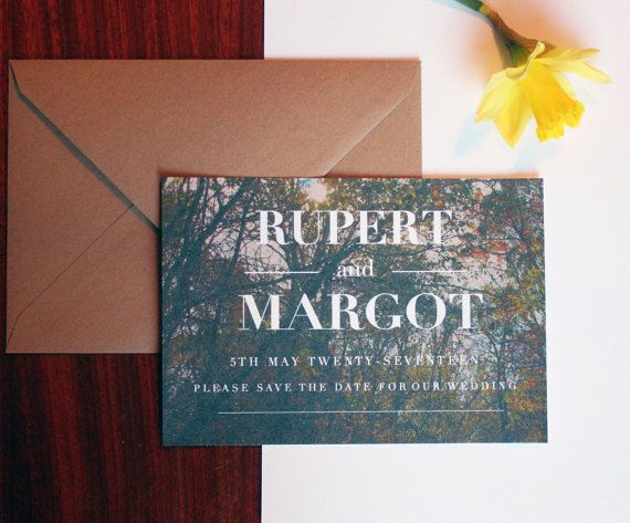 Woodland Themed Wedding Save The Date Cards Invitation A6 With Rustic Kraft Envelope