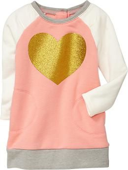 Graphic Fleece Dress LOVE! 4T in ballet slipper pink $16.94