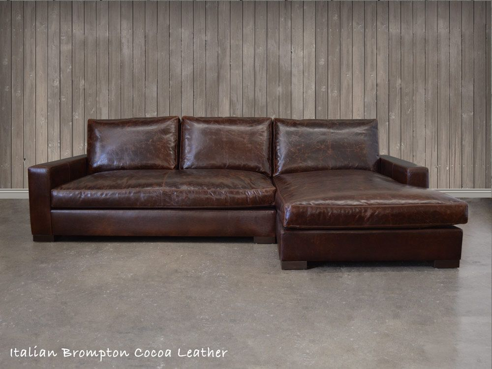 the Braxton Leather Sofa Chaise Sectional (shown here in Italian Brompton Cocoa leather) is : leather chaise sectional sofa - Sectionals, Sofas & Couches