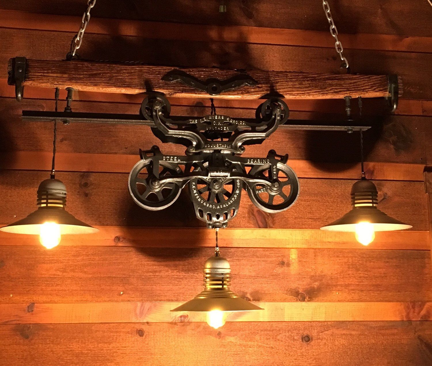 Gorgeous Antique Rustic Hay Trolley Yoke Chandelier Barn