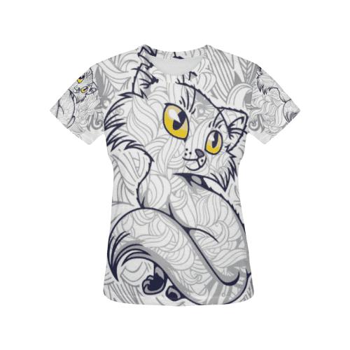 TShirtPurr kitty All Over Print TShirt for Women mewe