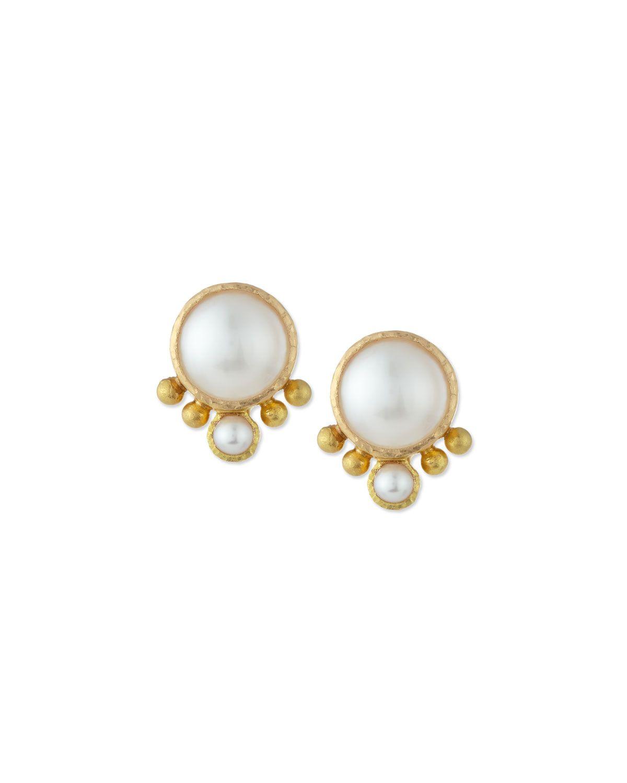 Elizabeth Locke Akoya Pearl & Diamond Stud Earrings 2hBLZsj52z