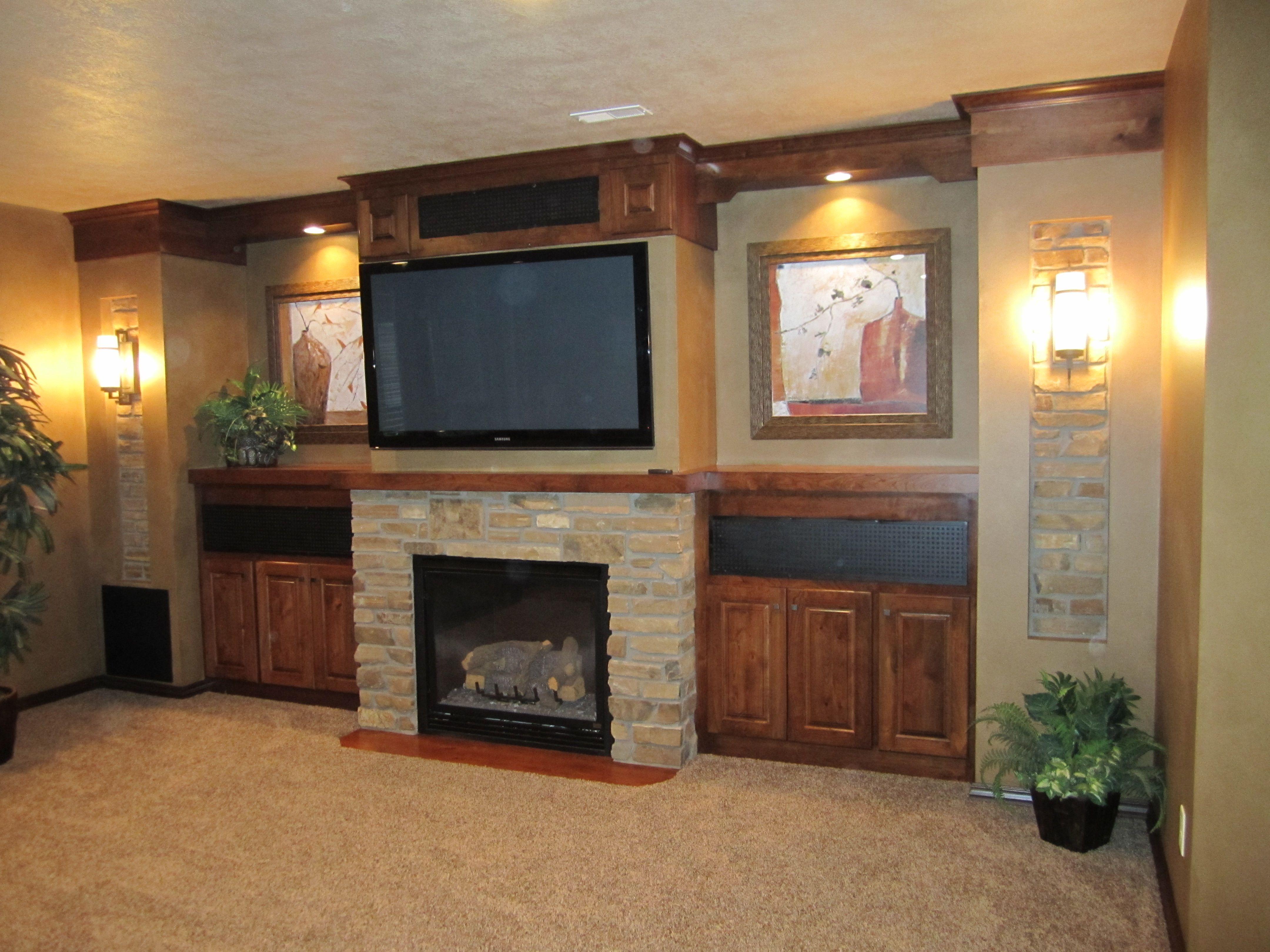Prairie Heritage Design. Great Room TV, Fireplace, Built ...