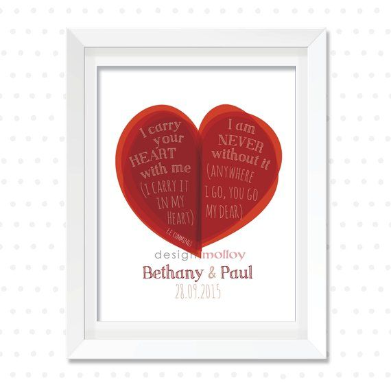 I Carry Your Heart Print, Anniversary Gift, E.E. Cummings Wall Art ...