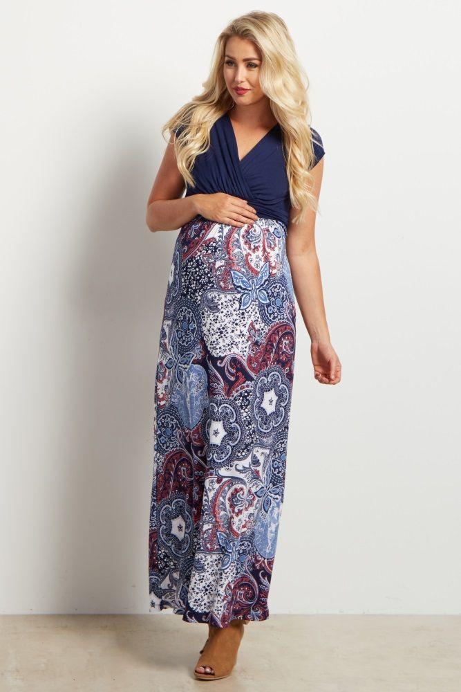 6eaaf551a612d Navy Blue V-Neck Tribal Print Maxi Maternity Dress | Maternity ...
