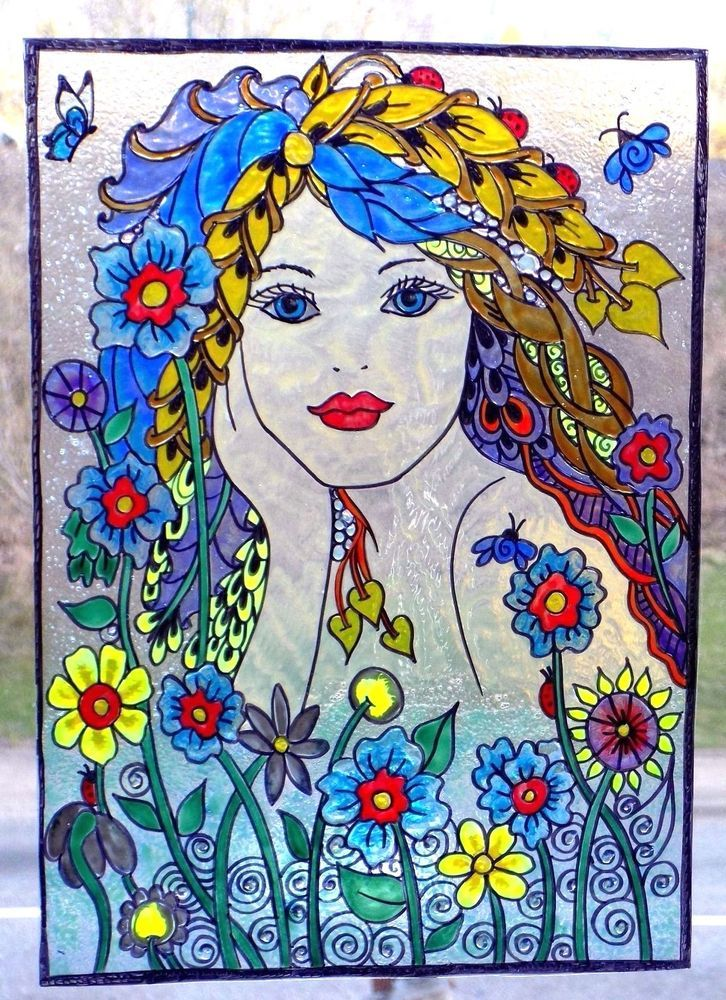WICOART WINDOW COLOR STICKER STATIC CLING STAINED GLASS ART DOODLE SPRING FAIRY