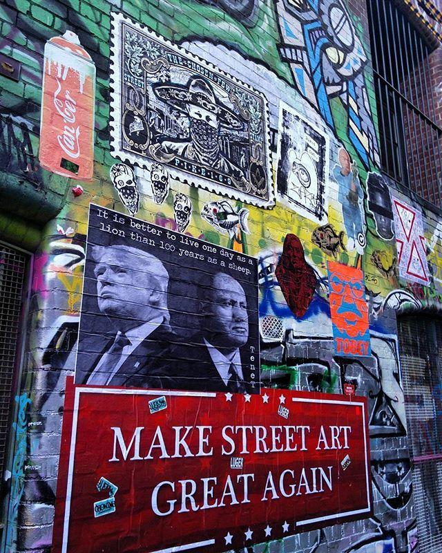 Massive day on Hosier Lane,  Melbourne with @mayzeone. ------------------------------------------------------------------- #tenet #melbournestreetart #quote #hosierlane #hosier #trump #pasteup #mussolini #posterart #melbourne #history #wheatpaste #sheep #makestreetartgreatagain #history #gluemaster #streetartiseverywhere