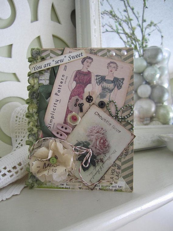 Vintage Vogue Card Sewing-themed Card Vintage Vogue Sewing Seamstress Card