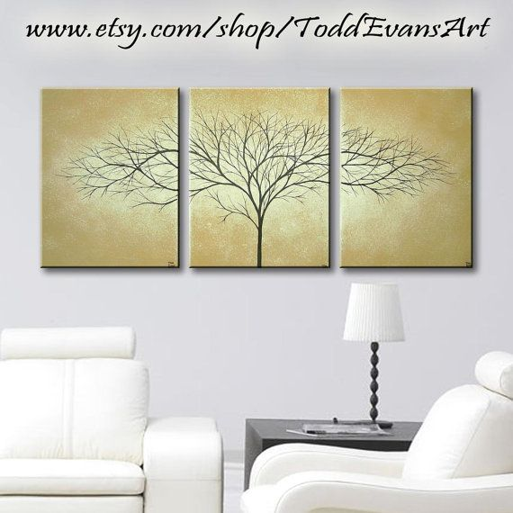 36 inches, Brown Paintings Set of 3, Trees Triptych, Light Brown and White Art Original Tree Painting, Canvas Wall Art Decor Set of 3 by ToddEvansArt, $70.00