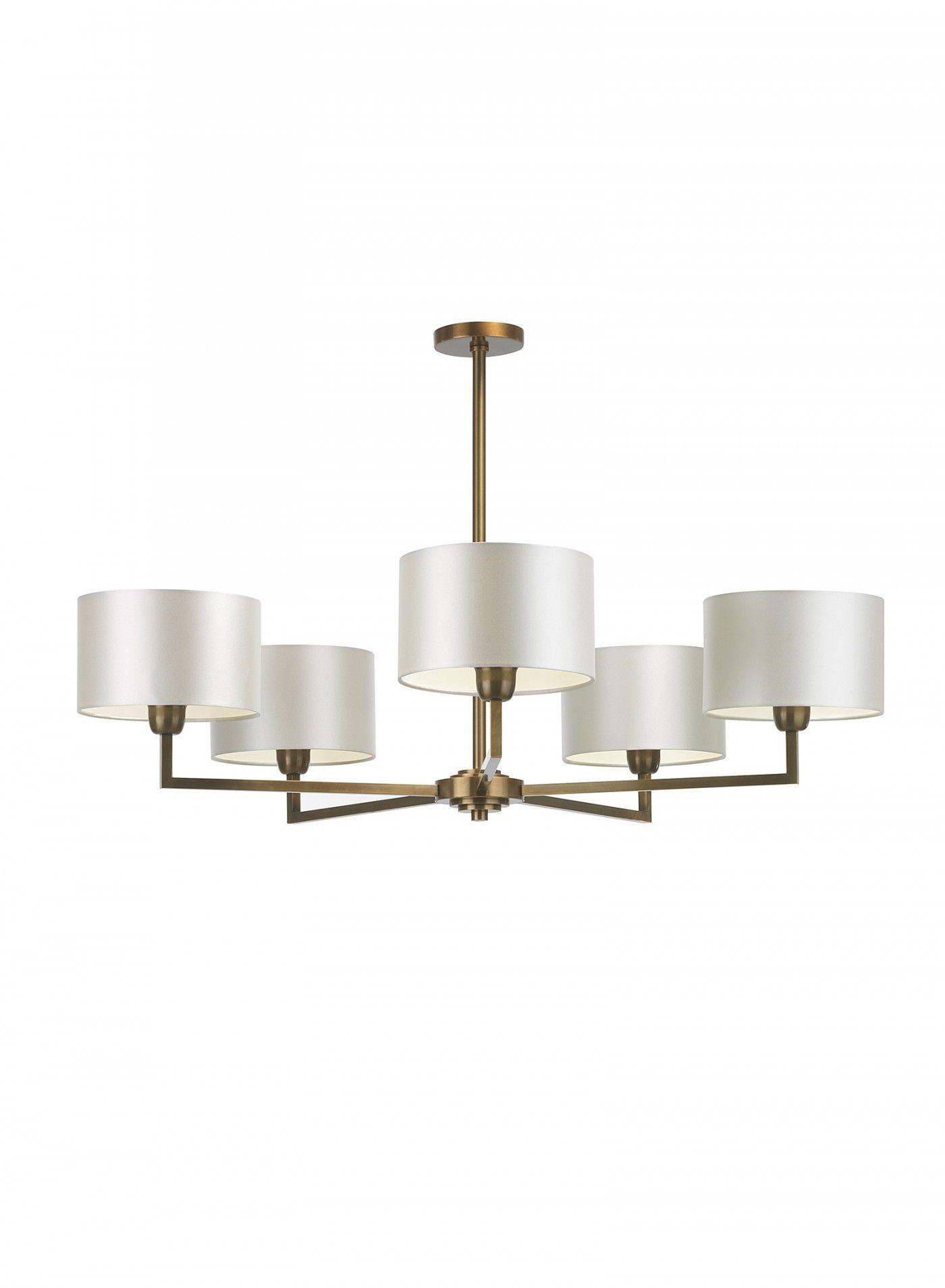 Holt Pendant 5 Arm Antique Brass Ceiling Light ...