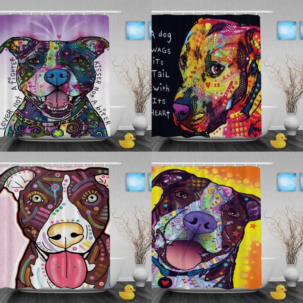 Custom Art Pitbull Dog Shower Curtains Colorful High Quality Bathroom Curtains Waterproof Shower Curtain For Home Ba