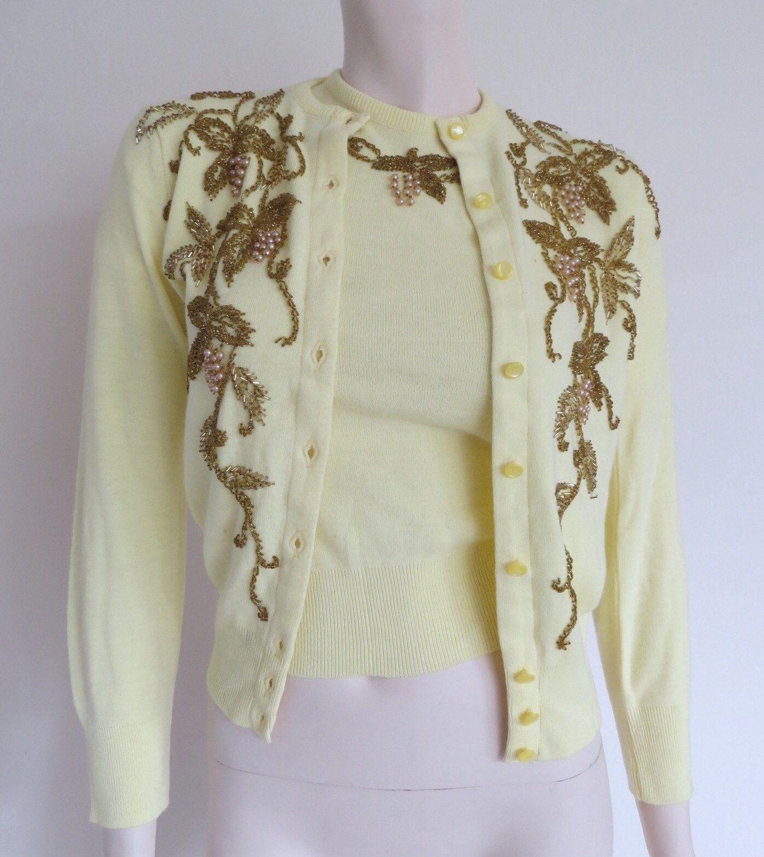 STUNNING Lemon 50s Cashmere Beaded Cardigan and Sweater Set ...