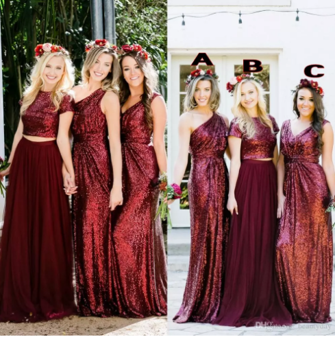 Burgundy Sequins Bridesmaid Dresses Country Custom Made Wedding Party Guest Gown Two Pieces Junior Maid Of Honor Dress