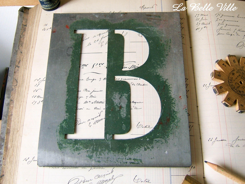 XL vintage French alphabet stencil zinc letter Metal