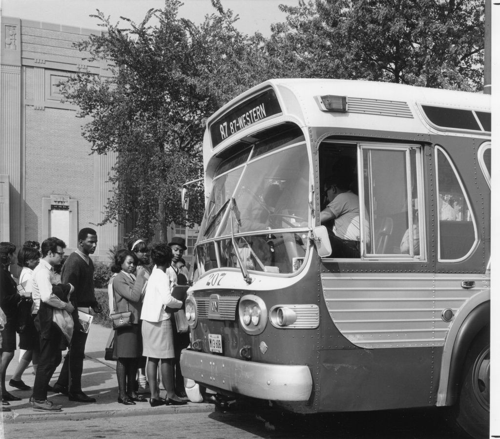 Students Boarding At Chicago Voc 1967 Chicago Bus Bus City Chicago