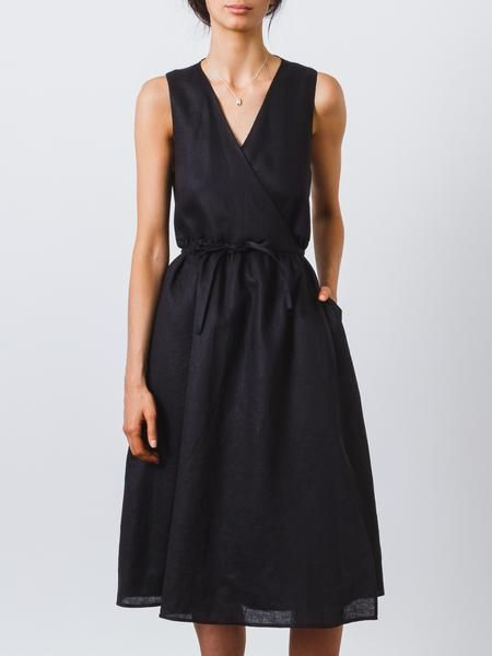 94e73782e5 Black Linen Wrap Dress