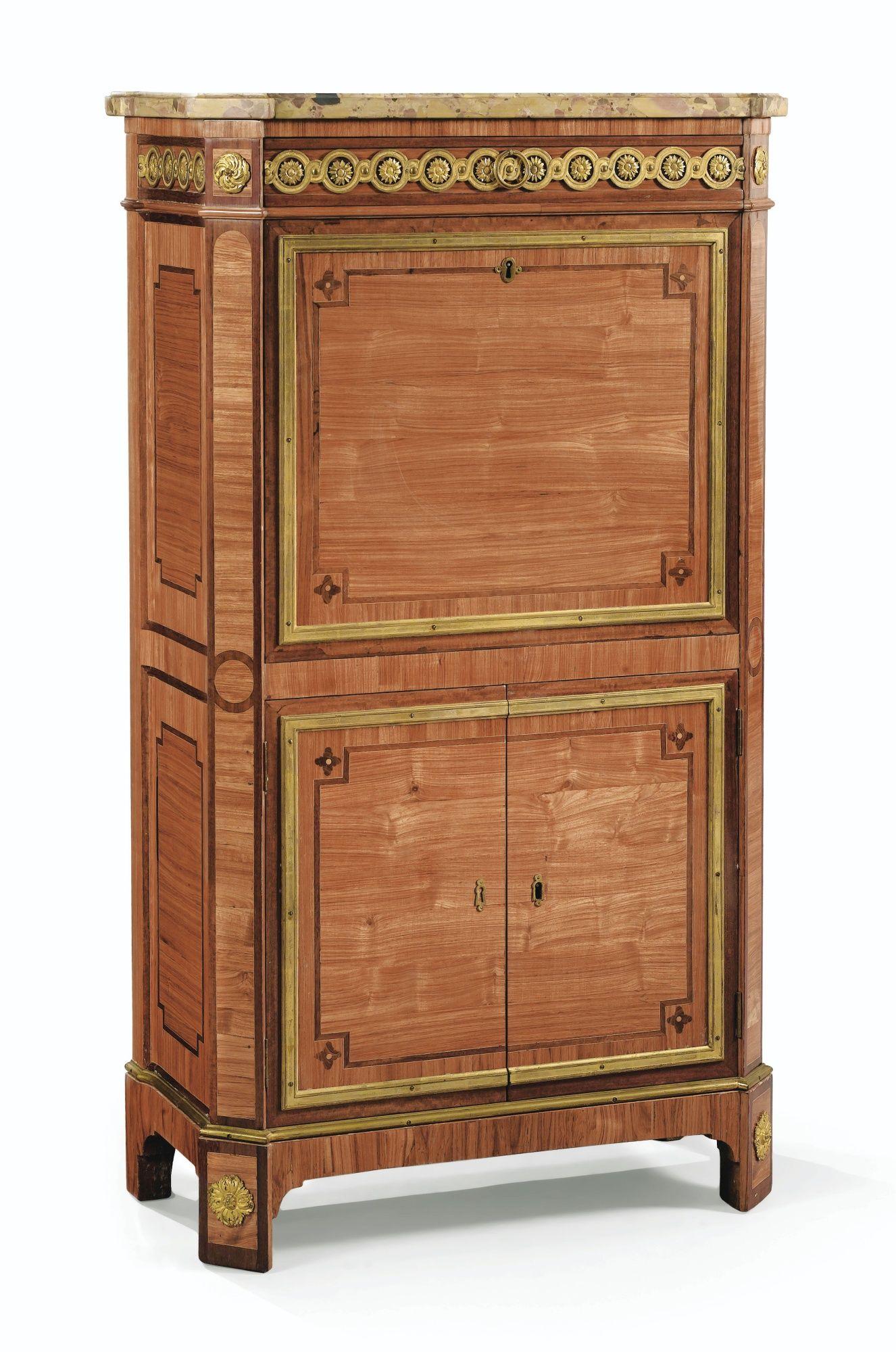 secretaire a abattant en placage de bois de rose et amarante et montures de bronze dore