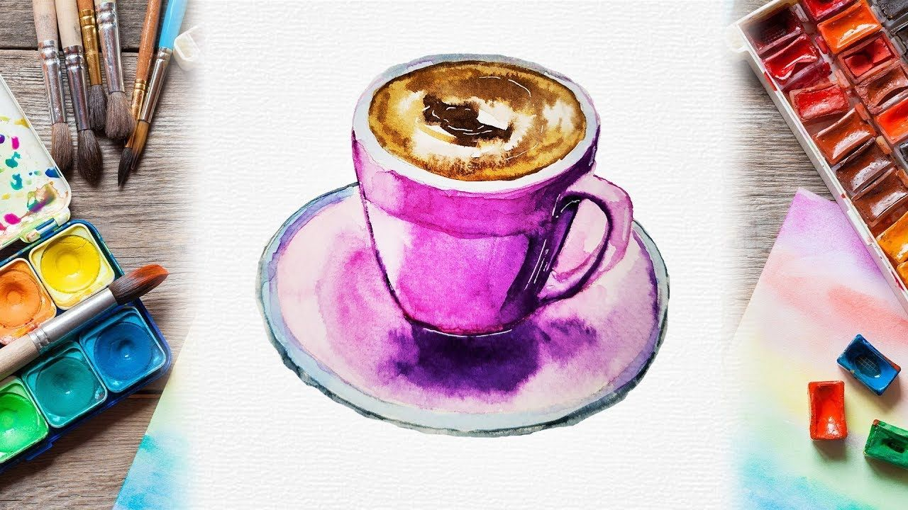 Easy Watercolor Cup Of Coffee Painting How To Paint Coffee Mugs