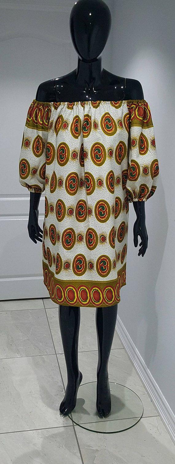 African print off shoulder dress