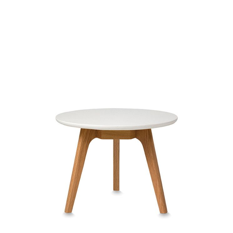 American Oak Small Coffee Table With White Lacquered Top By