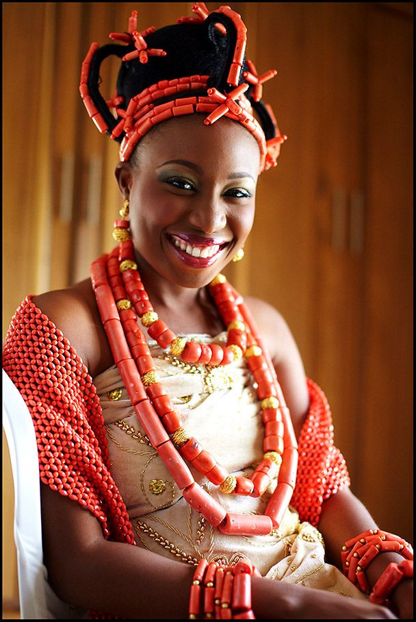 Beautiful #Edo #Bride on day of her traditional wedding in #Nigeria ...