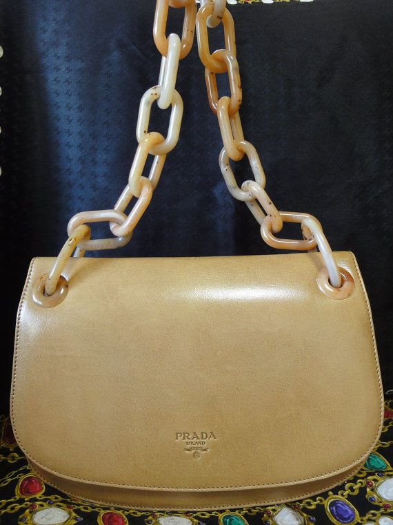 2b82e365e6fc Vintage PRADA tanned brown calf leather handbag purse with marble ...
