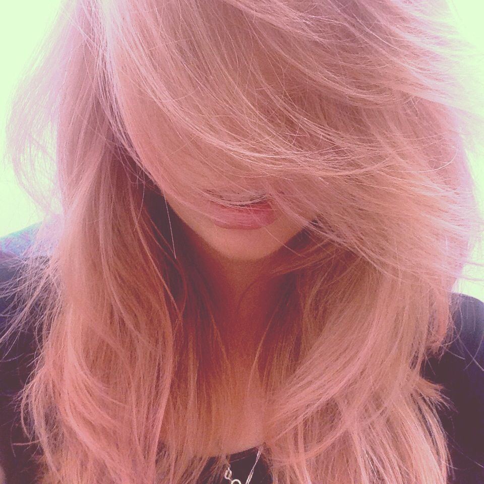 Hair dyed pink with rose bleach london on natural mid to light