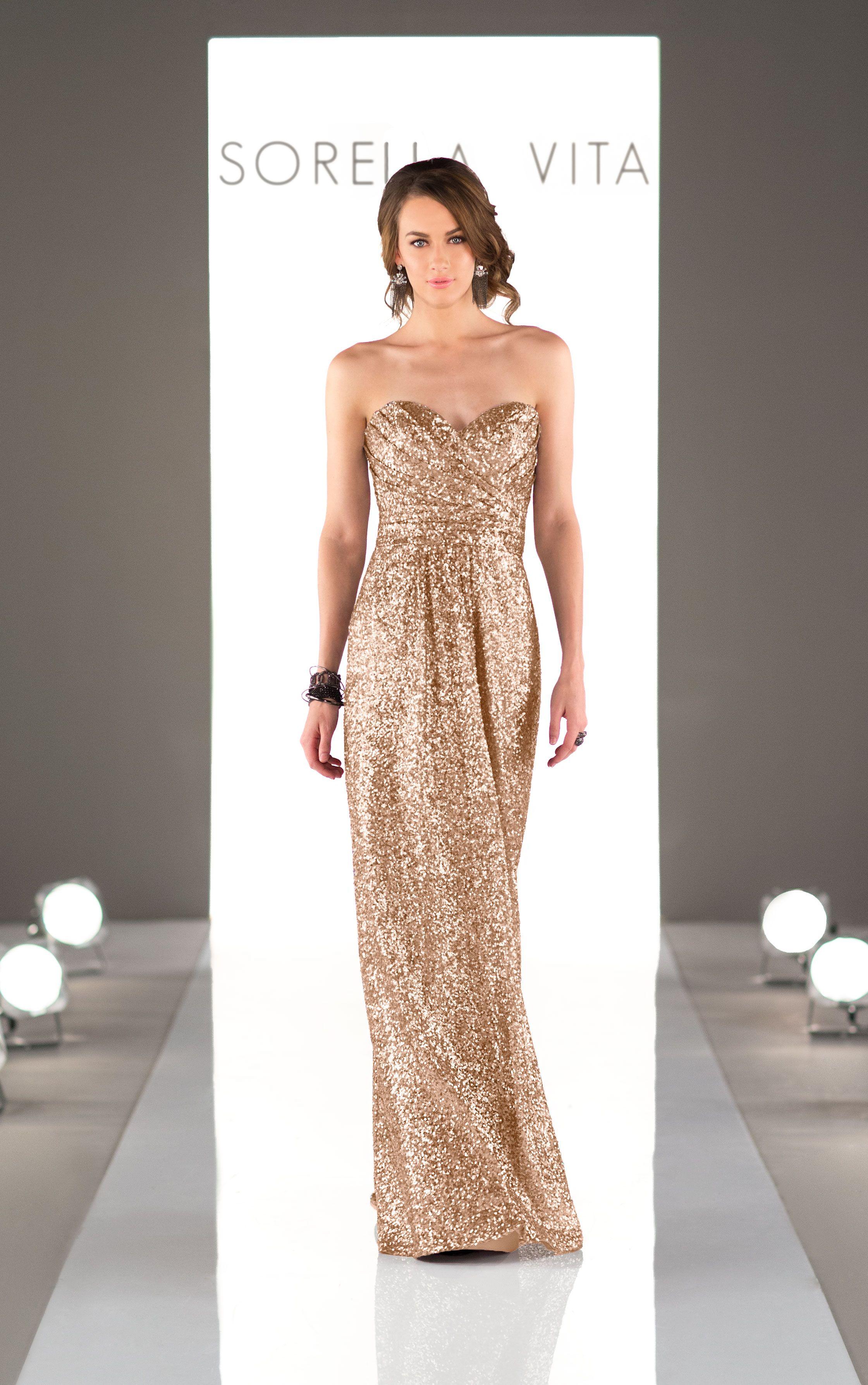 Long metallic sequin bridesmaid dress floor length gown sequin