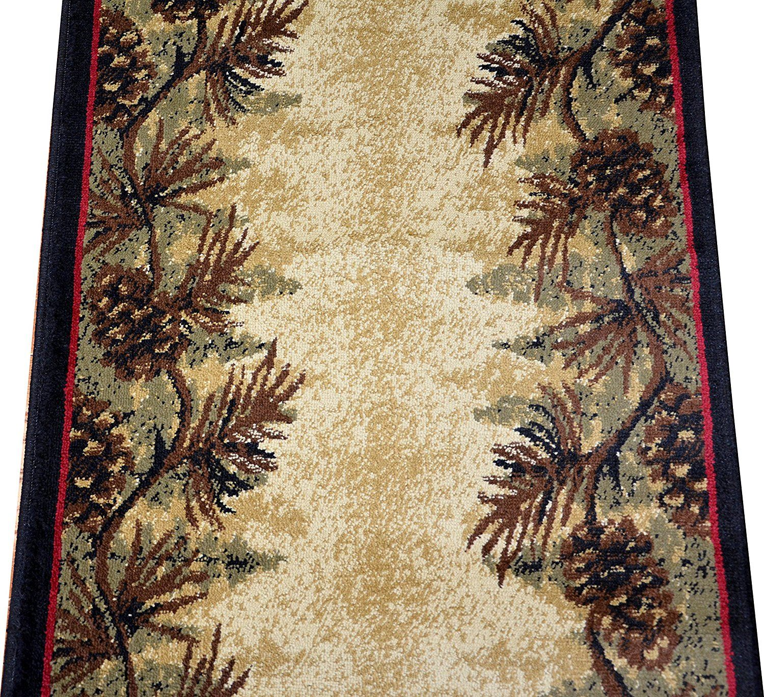 Hallway carpet runners sold by the foot  Amazon Dean Mt Le Conte Pine Cone Lodge Cabin Carpet Rug