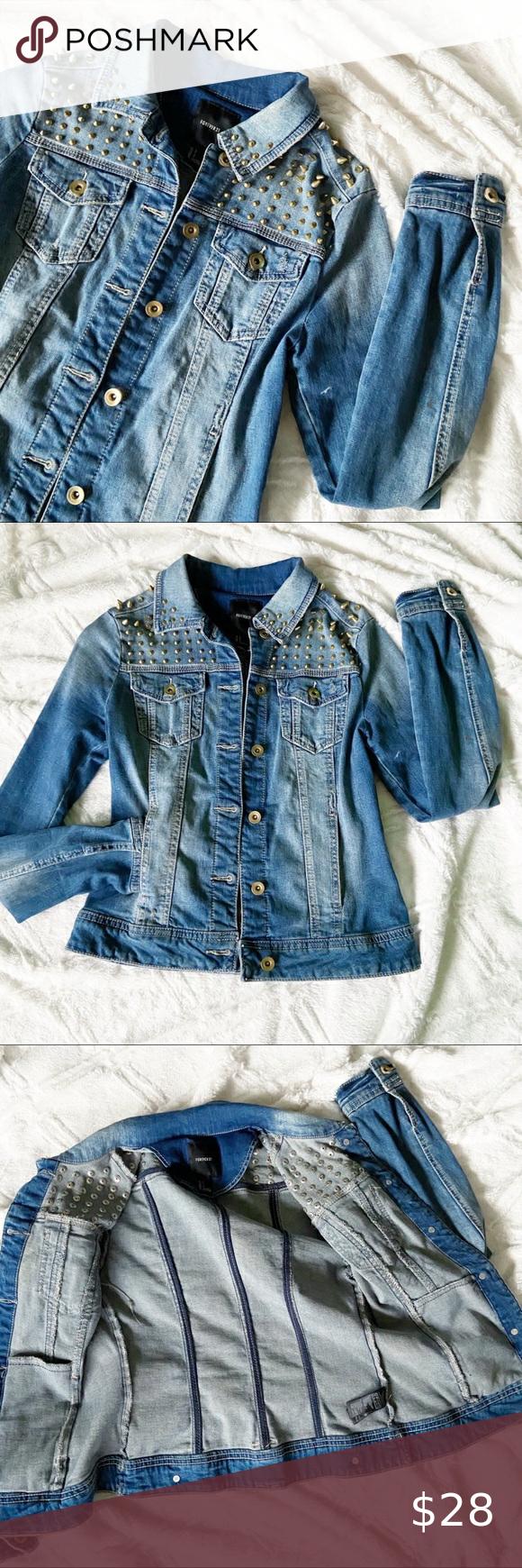 Forever 21 Studded Jean Jacket Distressed Denim Studded Jeans Fitted Denim Jacket Distressed Jean Jacket [ 1740 x 580 Pixel ]