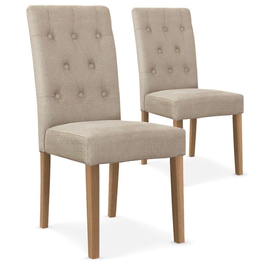 Lot de 2 chaises tissu dossier capitonné gris Costel | Retenu ...