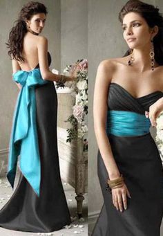 black bridesmaid dress, teal sash, elegant | Wedding | Pinterest ...