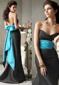 Black and Teal Bridesmaid Dresses