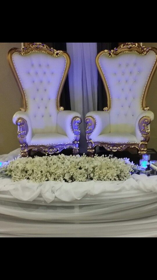 Thorn chairs with gold/silver accents.king and Queen wedding ...