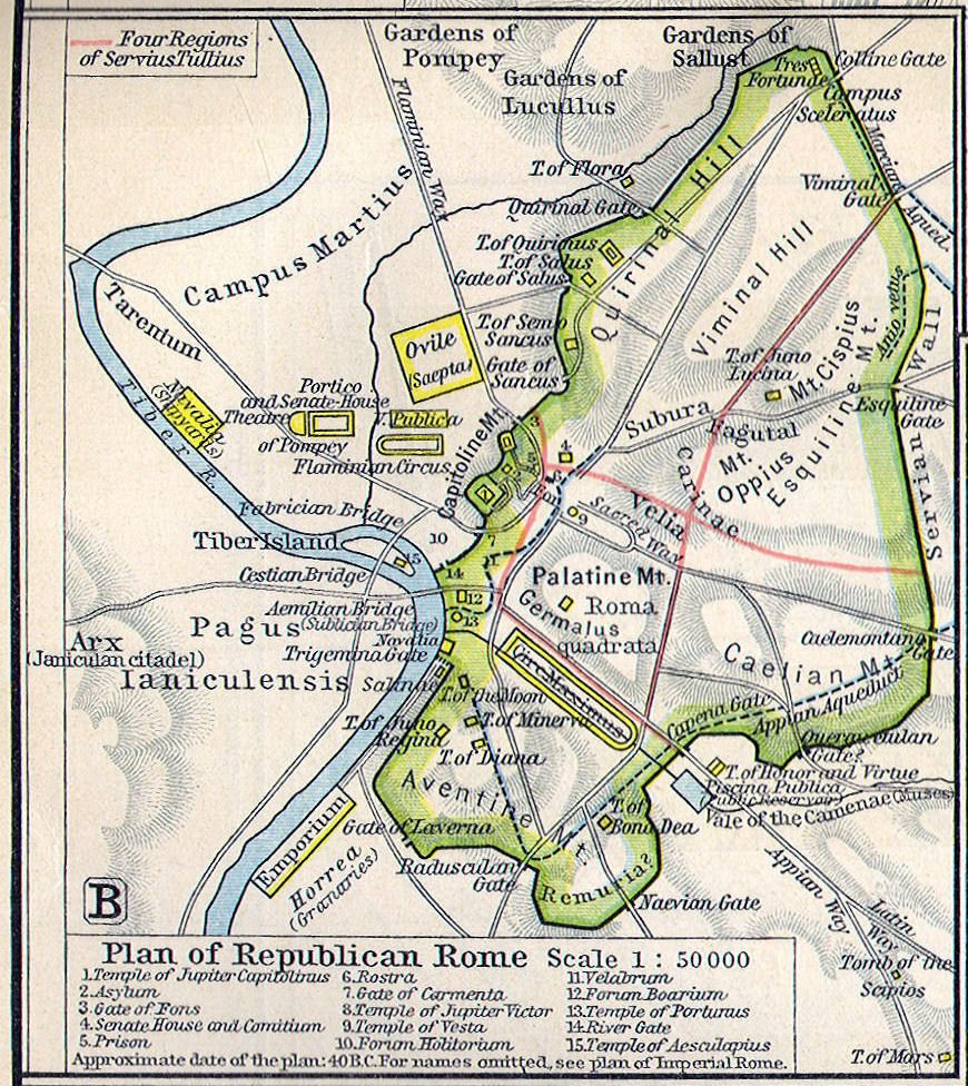 City map of Republican Rome approximately 100 BC Ancient Rome