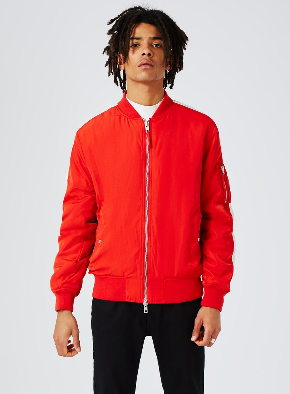 Red And White Stripe Ma1 Bomber Jacket New This Week New In Topman Bomber Jacket Topman Red And White Stripes [ 1350 x 994 Pixel ]