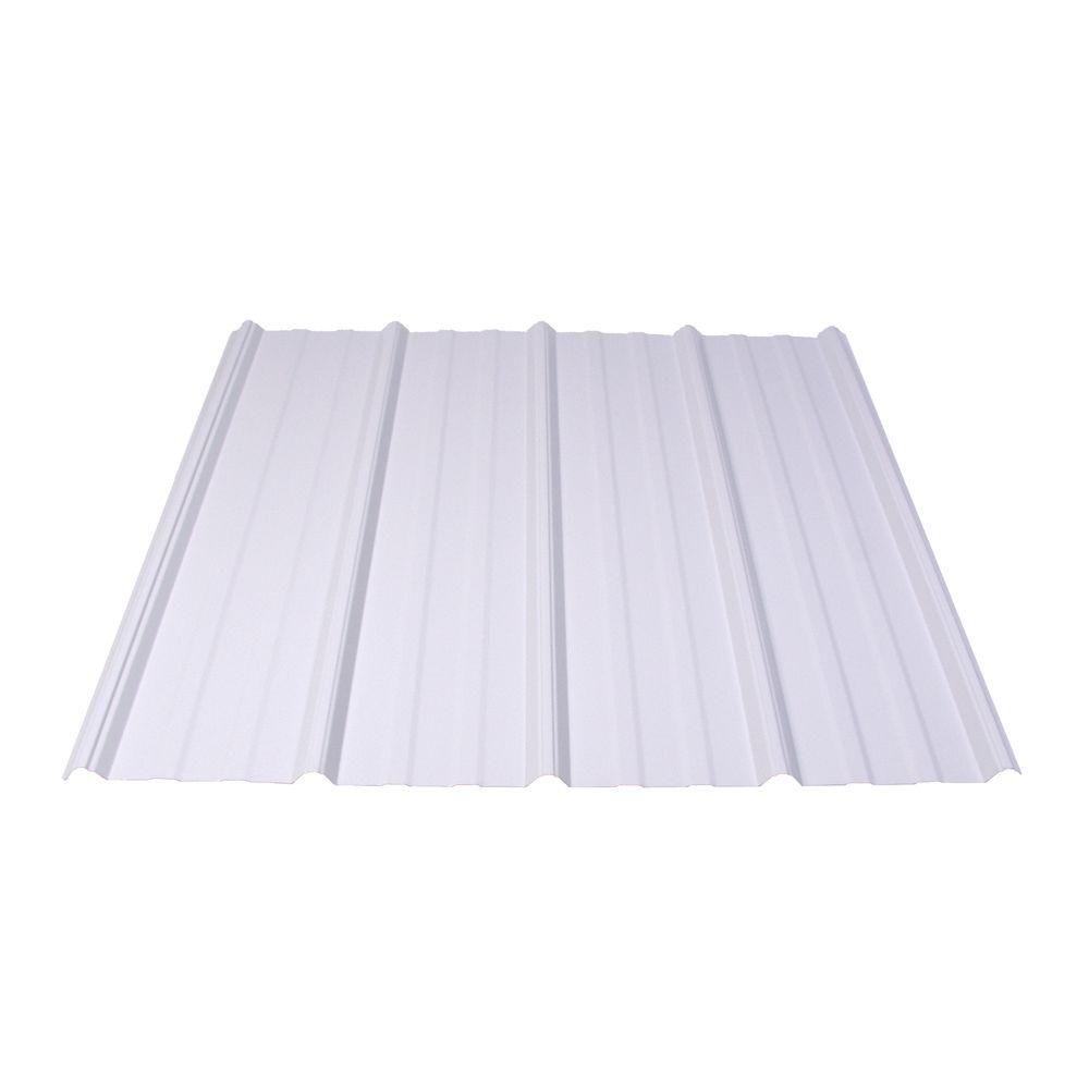 Shelterguard 16 Ft Exposed Fastener Galvanized Steel Roof Panel In White Metal Roof Panels Roof Panels Steel Roof Panels