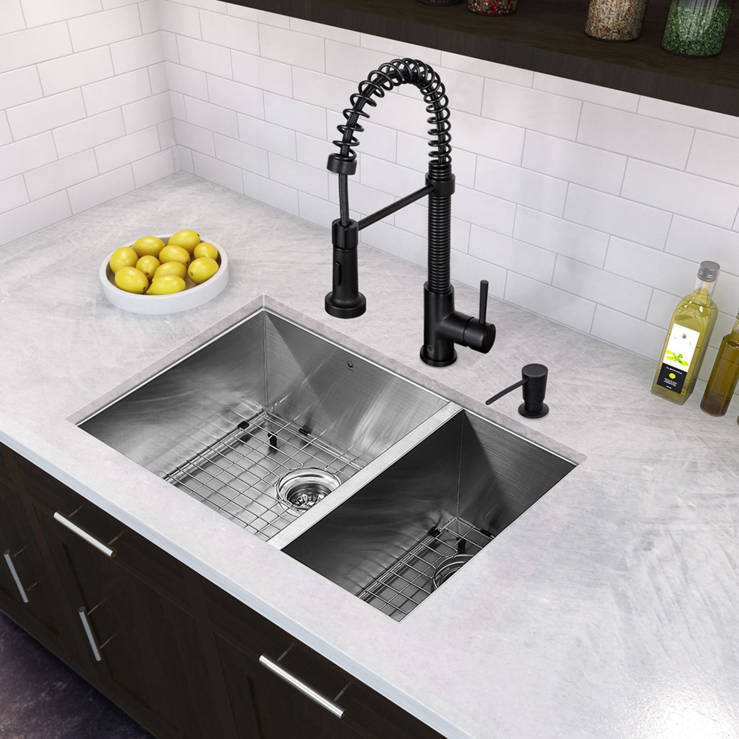 All In One 29 Inch Stainless Steel Undermount Kitchen Sink And Edison Matte Bla Stainless Steel Kitchen Sink Undermount Kitchen Faucet Double Bowl Kitchen Sink