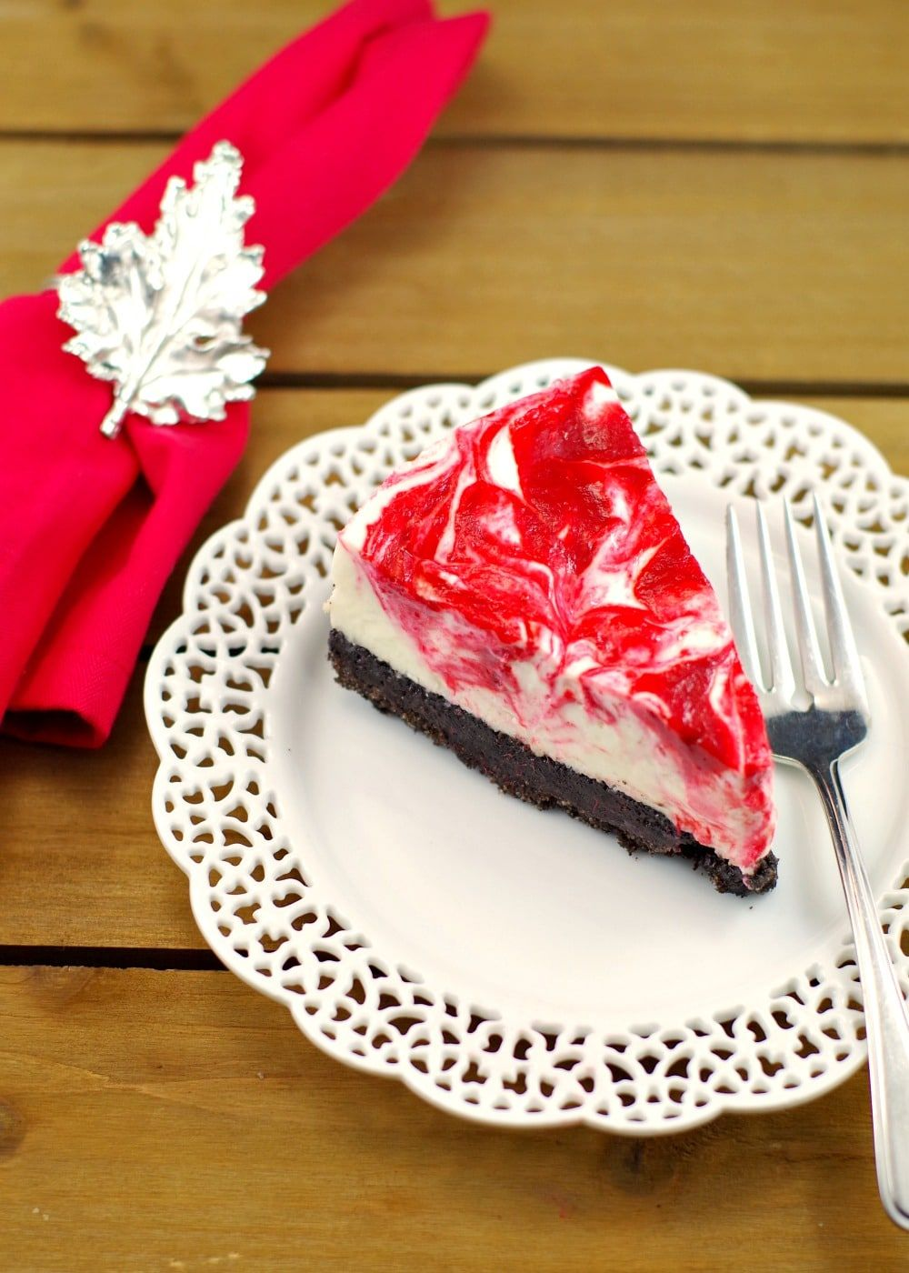 Rhubarb Red & White Chocolate Light NO BAKE Cheesecake