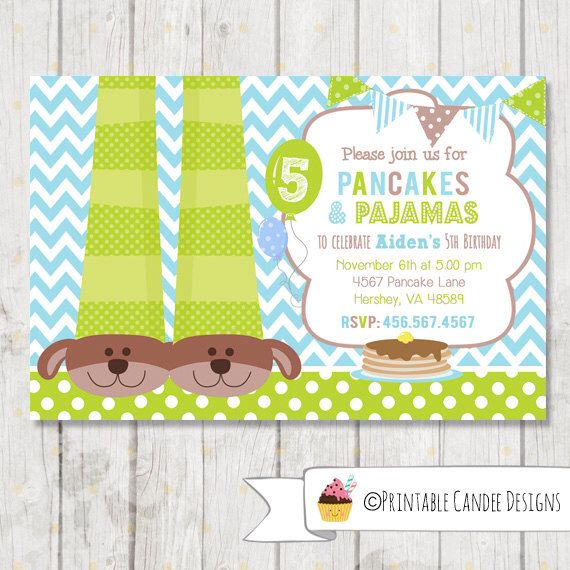 Boy Pancakes and Pajamas Birthday Invitation Pancakes and – Pancake Party Invitations