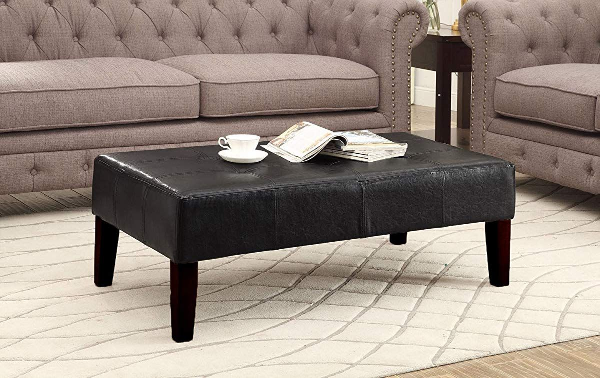 Faux Leather Coffee Table Black